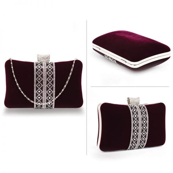 AGC00359 – Purple Sparkly Crystal Evening Clutch Purse_3_