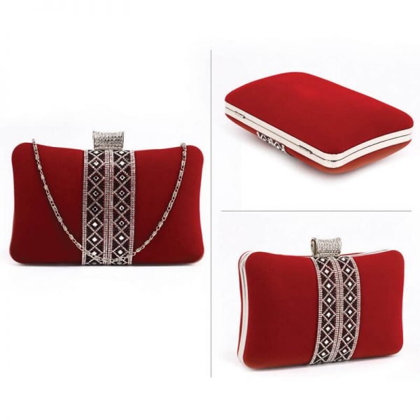 AGC00359 – Red Sparkly Crystal Evening Clutch Purse_3_