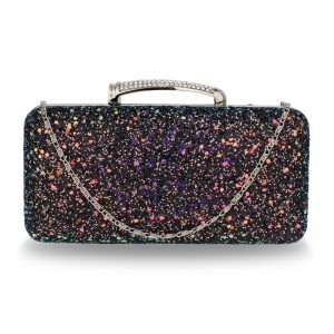 Black Glitter Evening Wedding Clutch Box