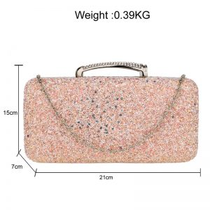 Champagne Glitter Evening Wedding Clutch Box