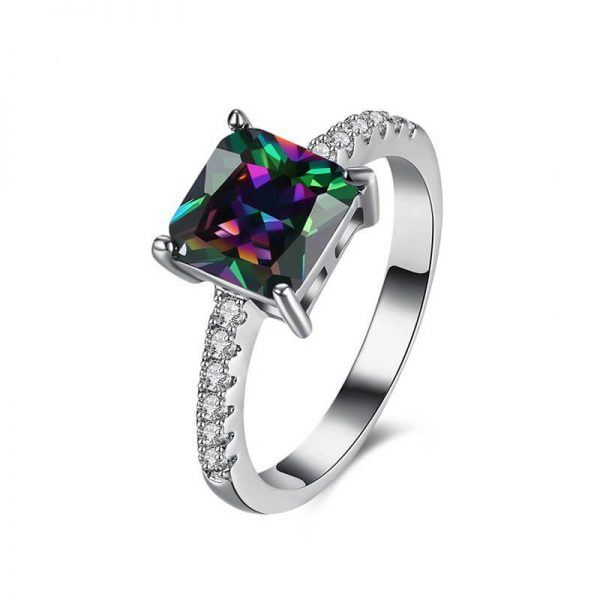 AR29 AAA Zircon Silver Ring With Diamantes and Multi Stone 2