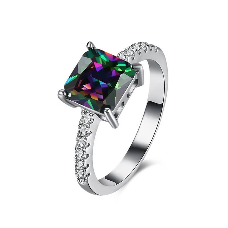 AAA Zircon Silver Ring With Diamantes and Multi Stone