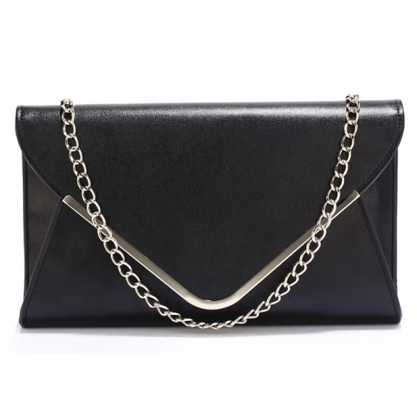 LSE00166C – Black Large Flap Clutch Purse_0_