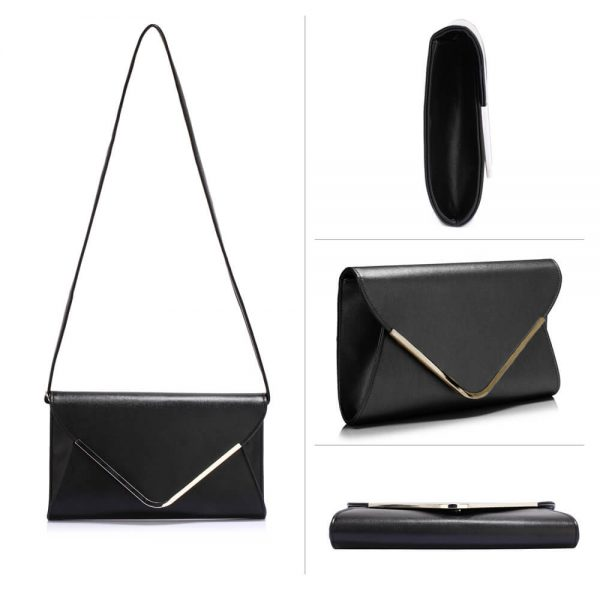 LSE00166C – Black Large Flap Clutch Purse_3_