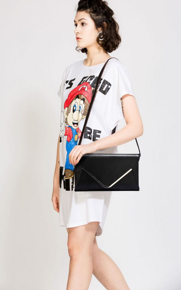 LSE00166C – Black Large Flap Clutch Purse_6_