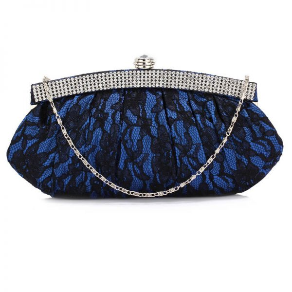 LSE00216 – Blue Floral Satin Lace Clutch Bag