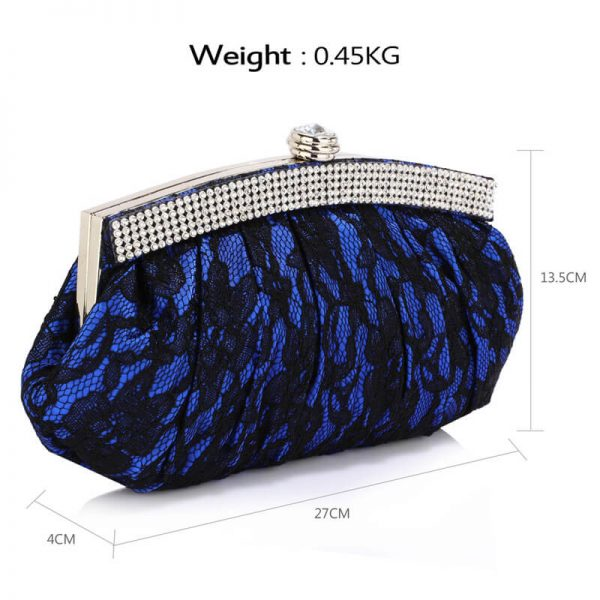 LSE00216 – Blue Floral Satin Lace Clutch Bag _2_