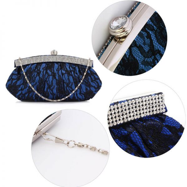 LSE00216 – Blue Floral Satin Lace Clutch Bag _5_