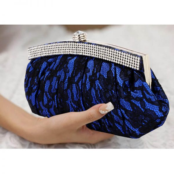 LSE00216 – Blue Floral Satin Lace Clutch Bag _6_