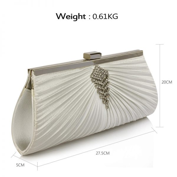 LSE00221 – Ivory Satin Clutch Bag With Crystal Decoration_2_