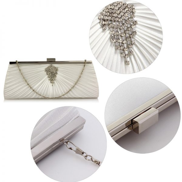 LSE00221 – Ivory Satin Clutch Bag With Crystal Decoration_5_