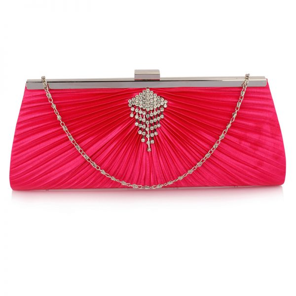 LSE00221 – Pink Satin Clutch Bag With Crystal Decoration_1_