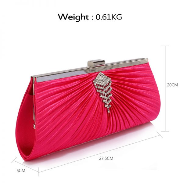 LSE00221 – Pink Satin Clutch Bag With Crystal Decoration_2_