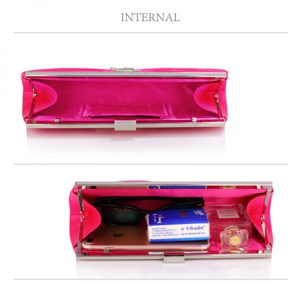 LSE00221 – Pink Satin Clutch Bag With Crystal Decoration_4_