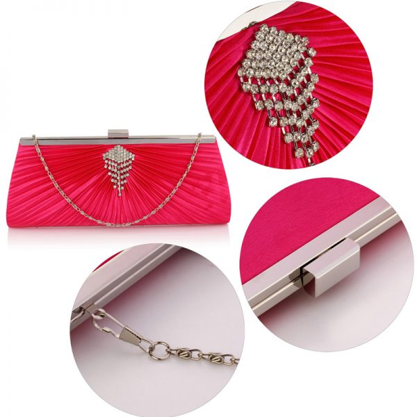 LSE00221 – Pink Satin Clutch Bag With Crystal Decoration_5_