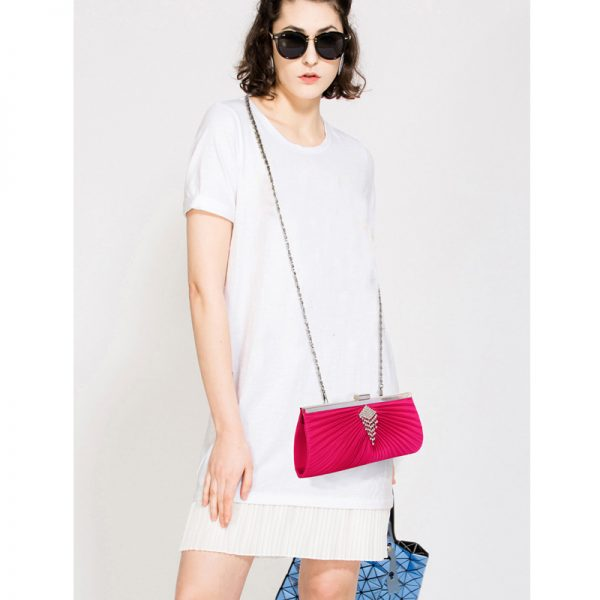 LSE00221 – Pink Satin Clutch Bag With Crystal Decoration_6_