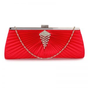 07fbe2cada0 Red Satin Clutch Bag With Crystal Decoration  ...