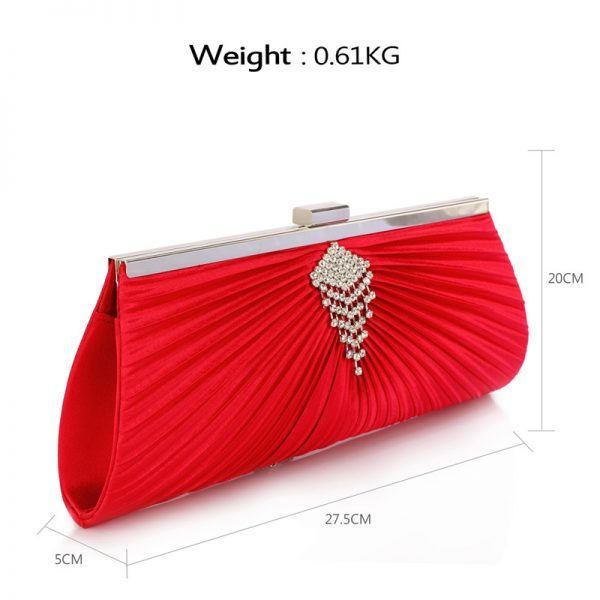 LSE00221 – Red Satin Clutch Bag With Crystal Decoration_2_
