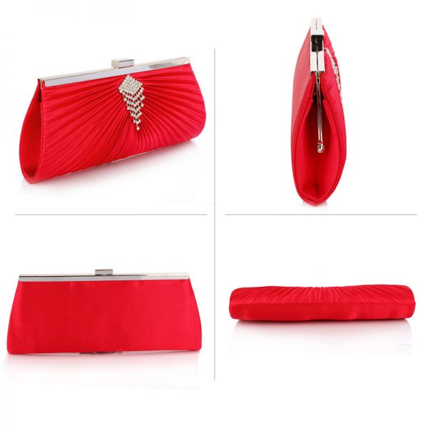 LSE00221 – Red Satin Clutch Bag With Crystal Decoration_3_