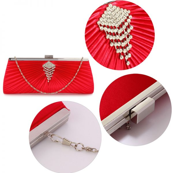 LSE00221 – Red Satin Clutch Bag With Crystal Decoration_5_