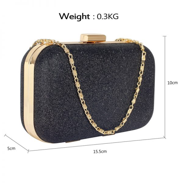 LSE00256 – Black Glitter Clutch Bag_2_