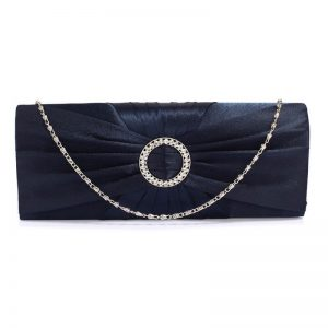 Navy Sparkly Crystal Satin Evening Bag