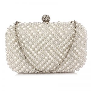 White Beaded Pearl Rhinestone Clutch Bag