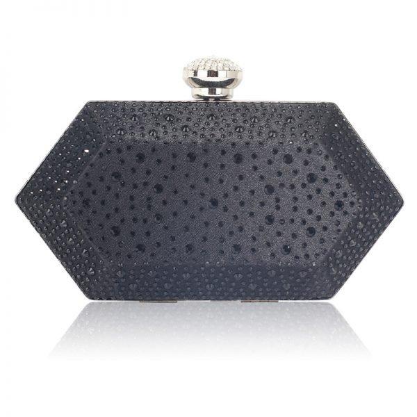 LSE00285 – Black Rhinestone Studded Hard Box Bridal clutch bag_1_
