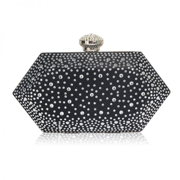 LSE00285 – Black Silver Rhinestone Studded Hard Box Bridal clutch bag_1_