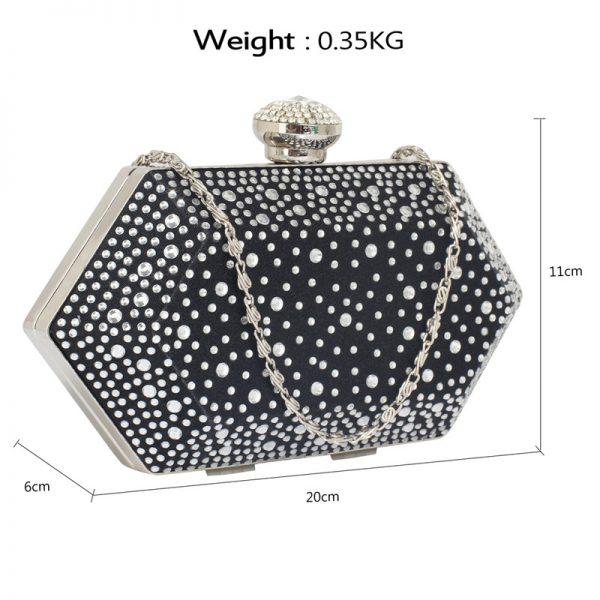 LSE00285 – Black Silver Rhinestone Studded Hard Box Bridal clutch bag_2_