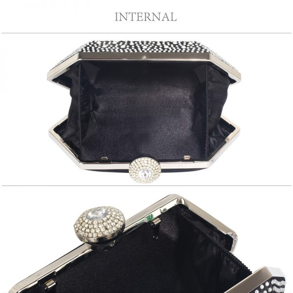 LSE00285 – Black Silver Rhinestone Studded Hard Box Bridal clutch bag_3_