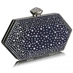 Navy Rhinestone Studded Hard Box Bridal clutch bag