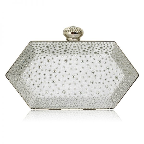 LSE00285 – Silver Rhinestone Studded Hard Box Bridal clutch bag_1_