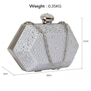Silver Rhinestone Studded Hard Box Bridal clutch bag