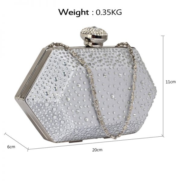 LSE00285 – Silver Rhinestone Studded Hard Box Bridal clutch bag_2_