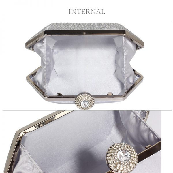 LSE00285 – Silver Rhinestone Studded Hard Box Bridal clutch bag_3_