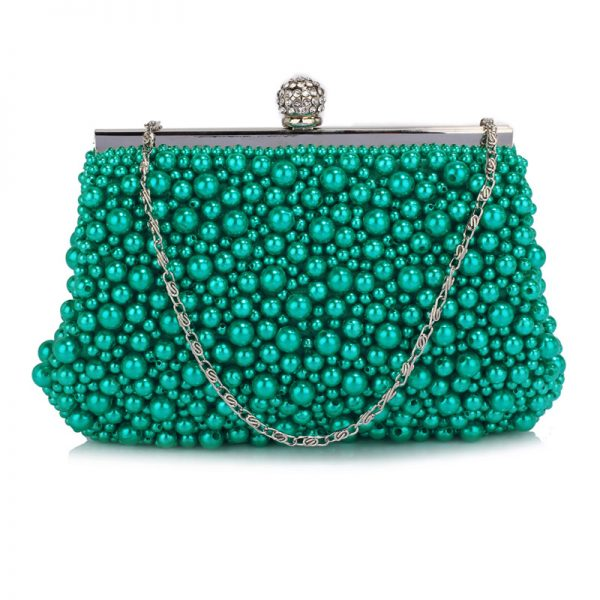 LSE00296 – Emerald Vintage Beads Pearls Crystals Evening Clutch Bag_1_