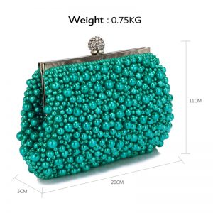 Emerald Vintage Beads Pearls Crystals Evening Clutch Bag