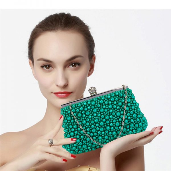 LSE00296 – Emerald Vintage Beads Pearls Crystals Evening Clutch Bag_6_