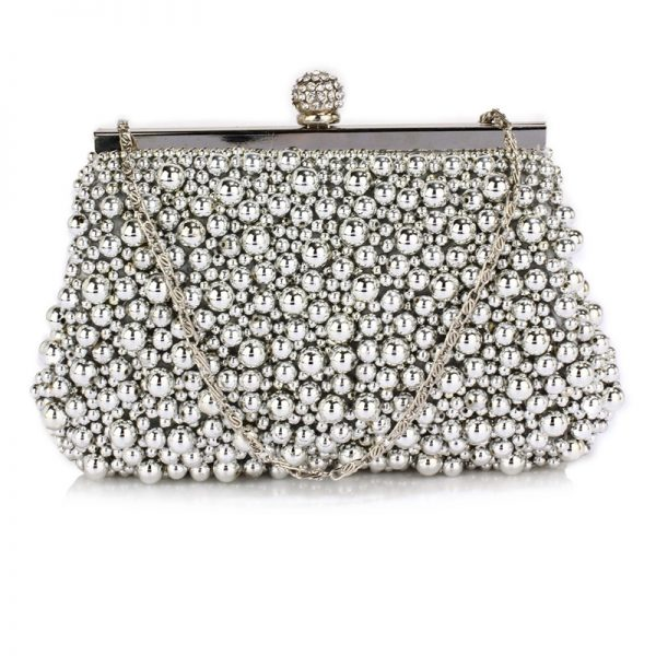 LSE00296 – Silver Vintage Beads Pearls Crystals Evening Clutch Bag_1_