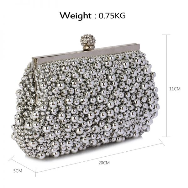 LSE00296 – Silver Vintage Beads Pearls Crystals Evening Clutch Bag_2_