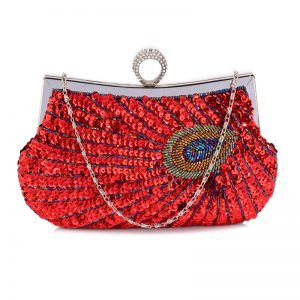 Red Sequin Peacock Feather Design Clutch Evening Party Bag