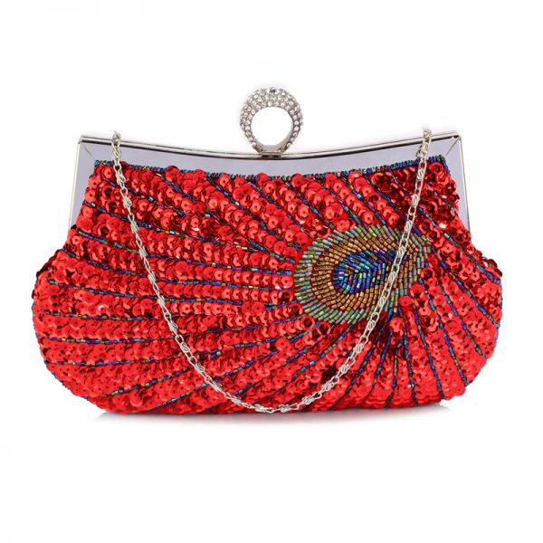 LSE00297 – Red Sequin Peacock Feather Design Clutch Evening Party Bag_1_