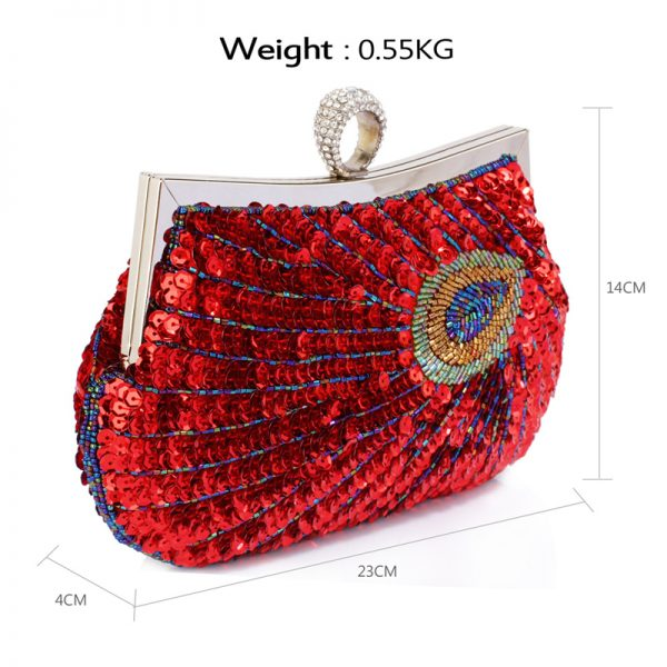 LSE00297 – Red Sequin Peacock Feather Design Clutch Evening Party Bag_2_