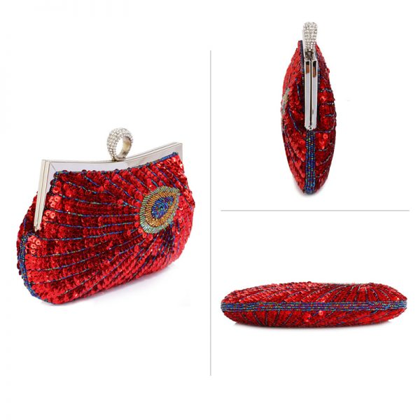 LSE00297 – Red Sequin Peacock Feather Design Clutch Evening Party Bag_3_