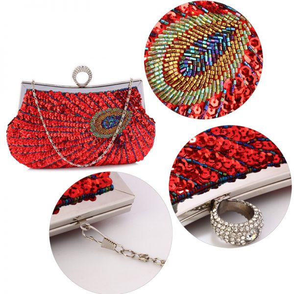 LSE00297 – Red Sequin Peacock Feather Design Clutch Evening Party Bag_5_