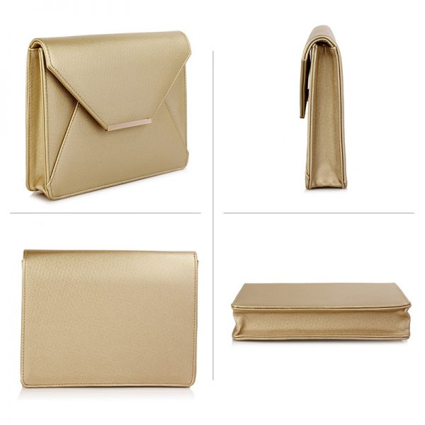 LSE00307A – Gold Flap Clutch Purse_3_
