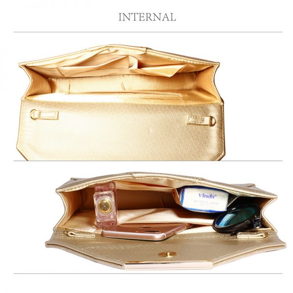 LSE00307A – Gold Flap Clutch Purse_4_
