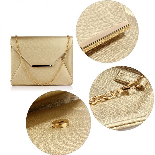 LSE00307A – Gold Flap Clutch Purse_5_