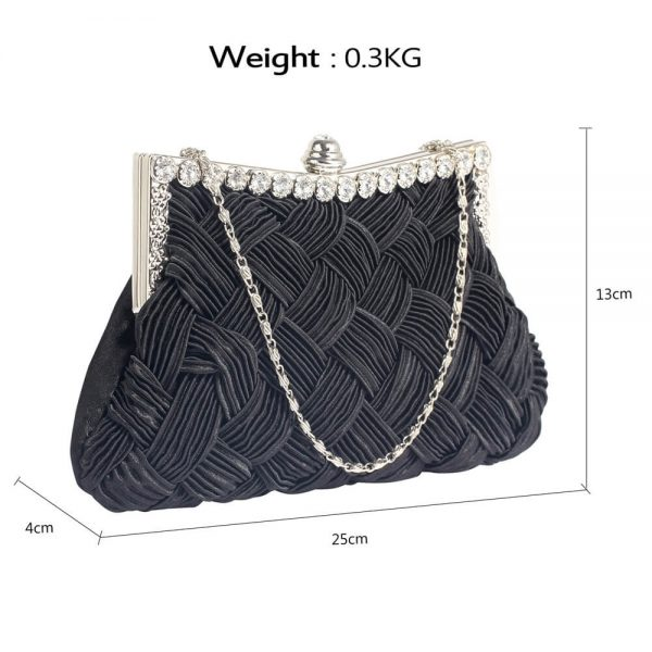 LSE0079 – Black Crystal Evening Clutch Bag_2_